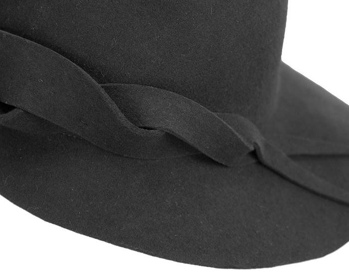 Fascinators Online - Unusual black felt wide brim hat by Max Alexander 5