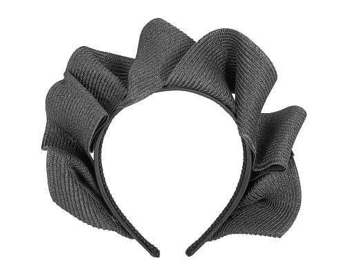 Fascinators Online - Black PU leather crown fascinator by Max Alexander 2