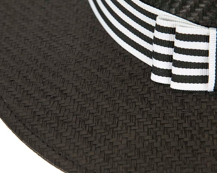 Fascinators Online - Black & white boater hat by Max Alexander 3