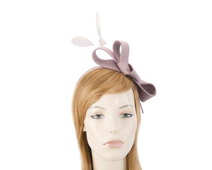 Fascinators Online - Dusty pink felt bow winter fascinator 1