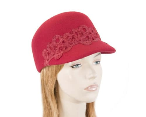 Fascinators Online - Red felt ladies cap with lace 9