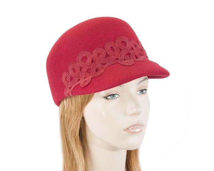 Fascinators Online - Red felt ladies cap with lace 1