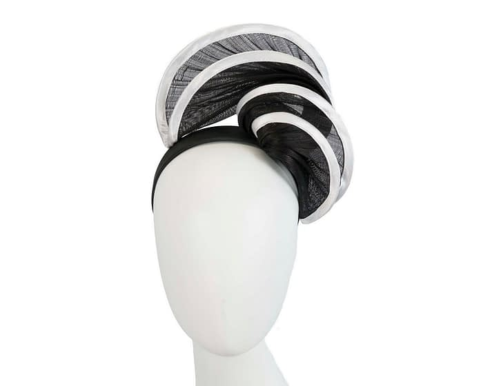 Fascinators Online - Black & white headband racing fascinator by Fillies Collection 1