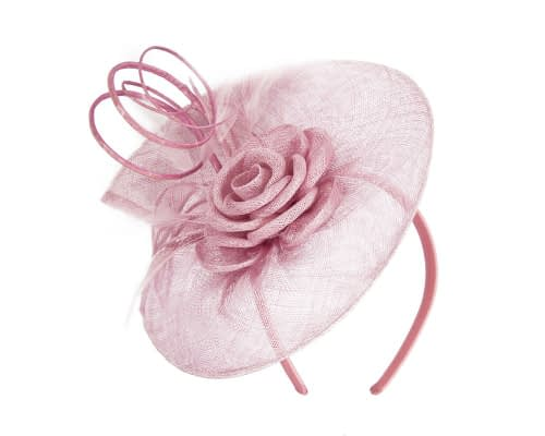 Fascinators Online - Large dusty pink sinamay racing fascinator with feathers by Max Alexander 2