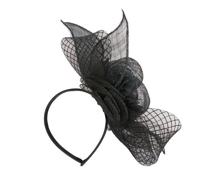 Fascinators Online - Large black sinamay bow fascinator by Max Alexander 4
