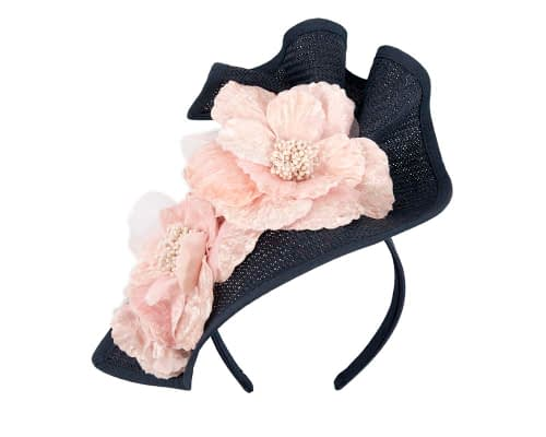 Fascinators Online - Bespoke large navy & cream flower fascinator by Fillies Collection 2