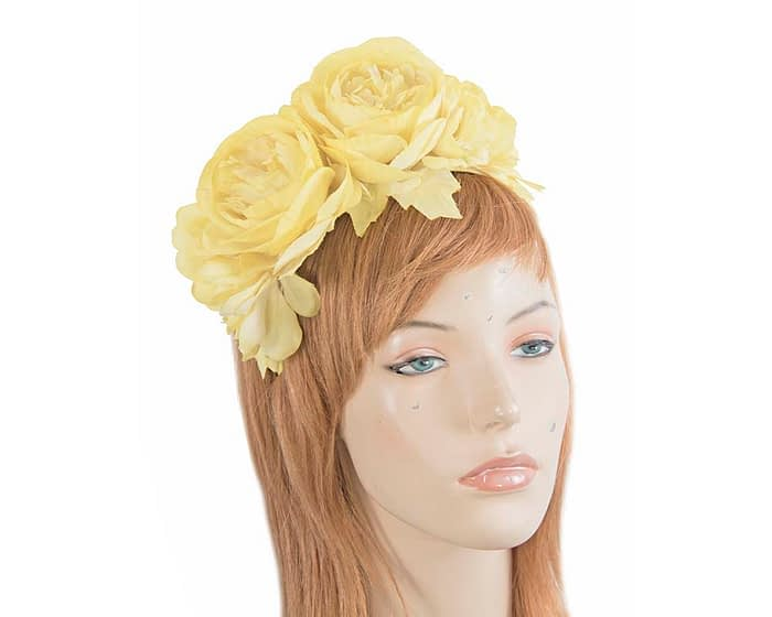 Fascinators Online - Yellow flower headband fascinator by Max Alexander 1