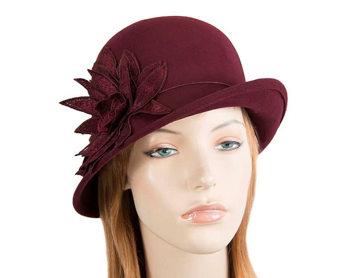Fascinators Online - Burgundy felt cloche hat with lace by Max Alexander 1
