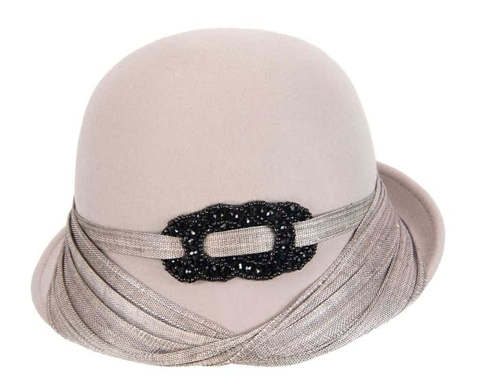 Fascinators Online - Fashion silver grey felt cloche hat by Fillies Collection 3