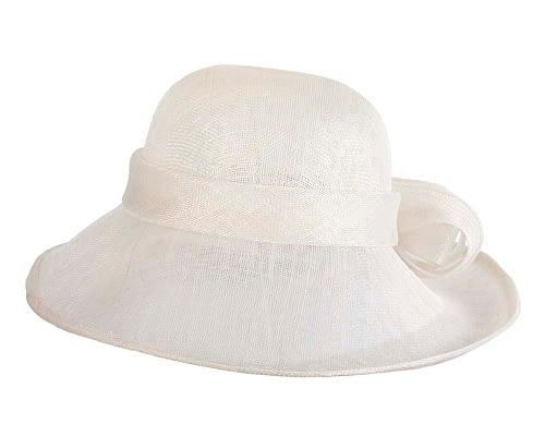 Fascinators Online - Wide brim white sinamay racing hat by Max Alexander 4
