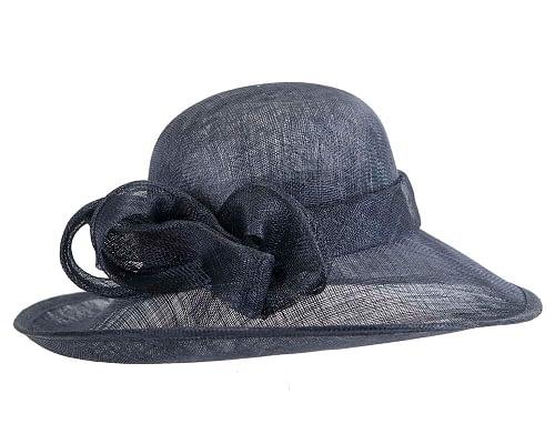 Fascinators Online - Wide brim navy sinamay racing hat by Max Alexander 3