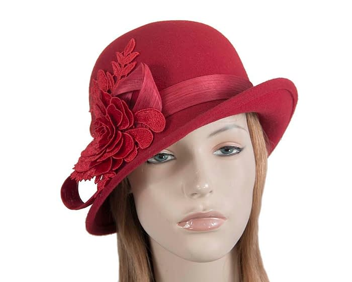 Fascinators Online - Exclusive red felt cloche hat with lace by Fillies Collection 1
