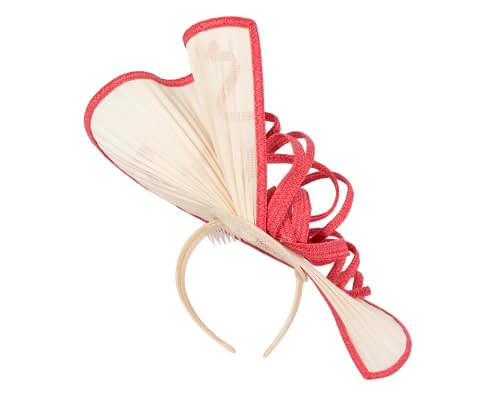Fascinators Online - Large cream and coral jinsin racing fascinator by Fillies Collection 5