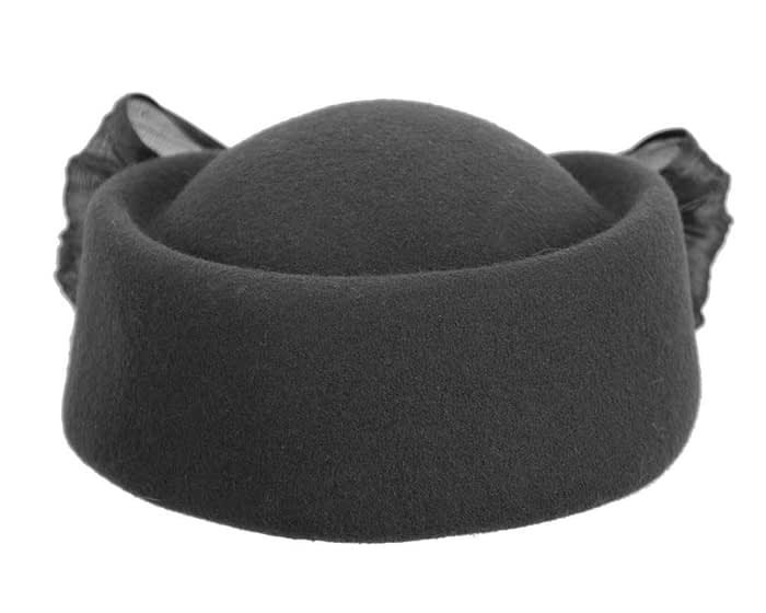Fascinators Online - Black felt ladies fashion beret hat with bow by Fillies Collection 7