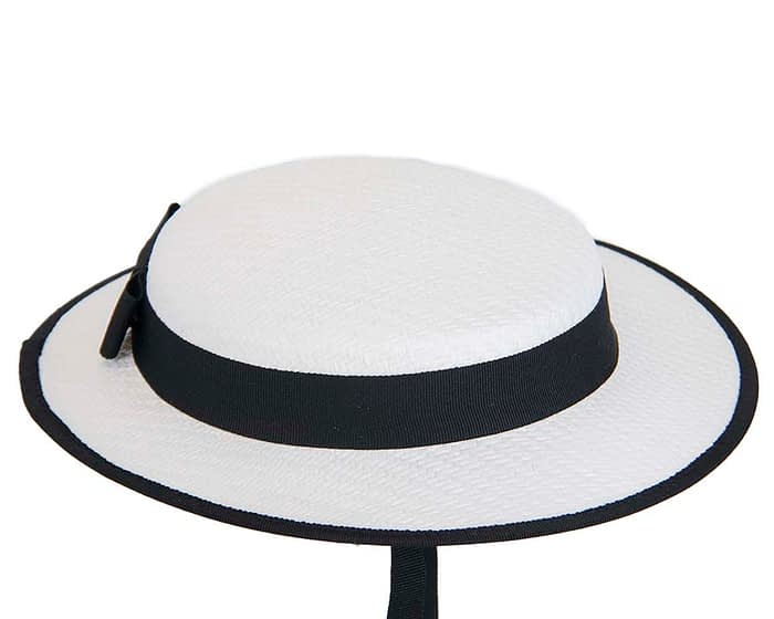 Fascinators Online - Small white & black boater fascinator hat by Max Alexander 3