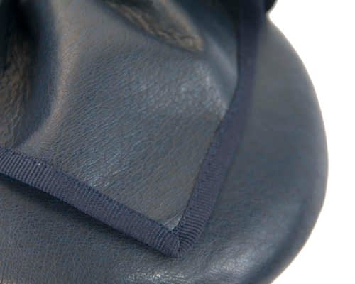 Fascinators Online - Navy leather pillbox fascinator by Max Alexander 5