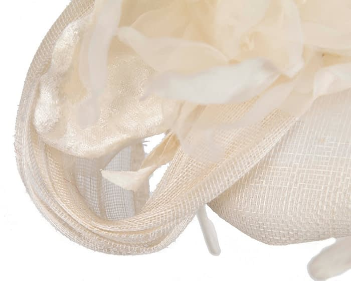 Fascinators Online - Cream pillbox fascinator with large flower by Fillies Collection 5