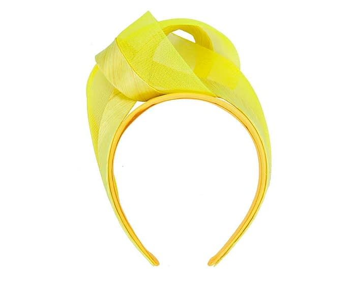 Fascinators Online - Yellow turban headband by Fillies Collection 2