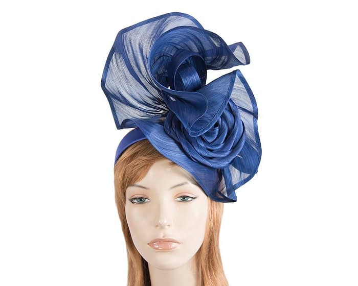 Fascinators Online - Royal blue sculptured silk abaca fascinator by Fillies Collection 1
