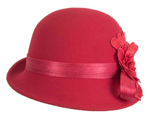 Fascinators Online - Exclusive red felt cloche hat with lace by Fillies Collection 5