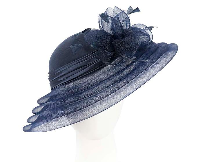 Fascinators Online - Navy custom made Mother of the Bride hat 1