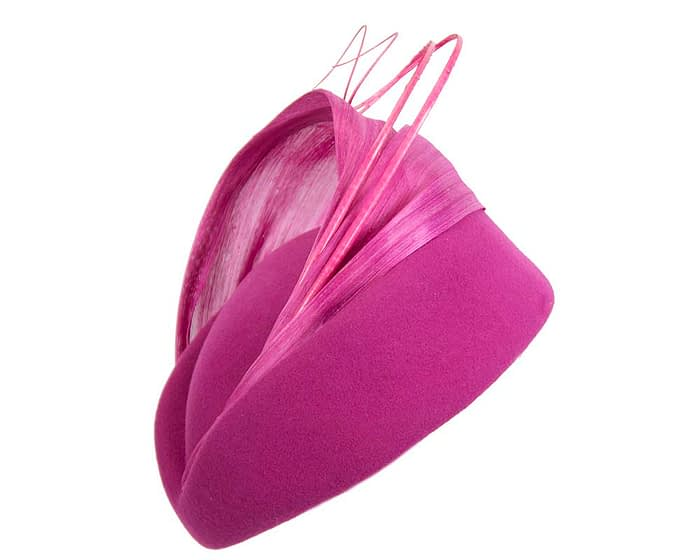 Fascinators Online - Fuchsia felt ladies fashion beret hat with feather by Fillies Collection 2