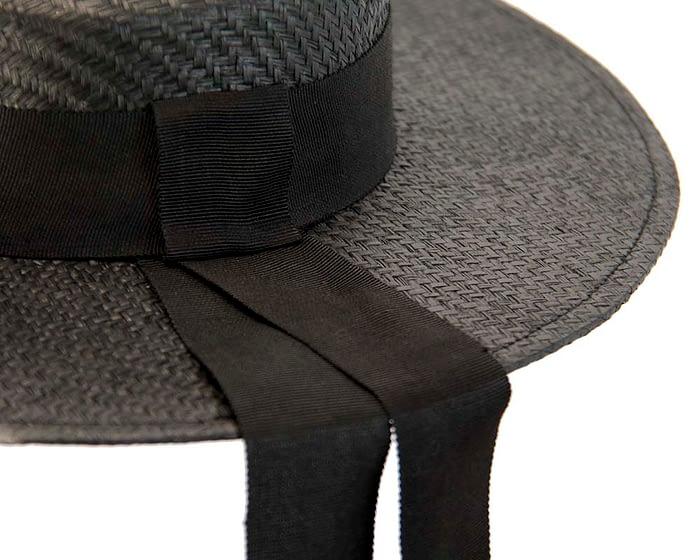 Fascinators Online - Black boater hat by Max Alexander 3