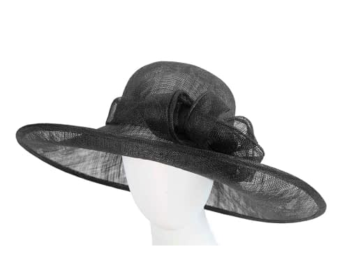 Fascinators Online - Wide brim black sinamay racing hat by Max Alexander 5