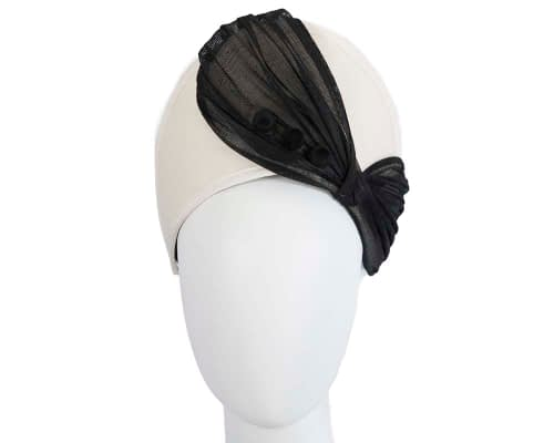Fascinators Online - Cream & black felt crown fascinator by Fillies Collection 2