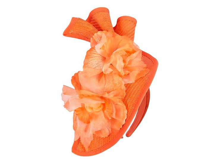Fascinators Online - Bespoke large orange flower fascinator by Fillies Collection 3