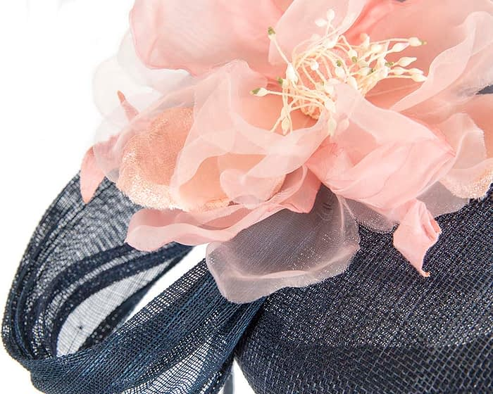 Fascinators Online - Navy pink pillbox fascinator with large flower by Fillies Collection 5