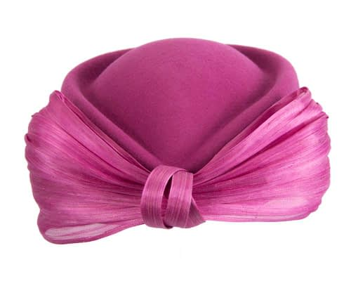 Fascinators Online - Fuchsia felt ladies fashion beret hat with bow by Fillies Collection 8