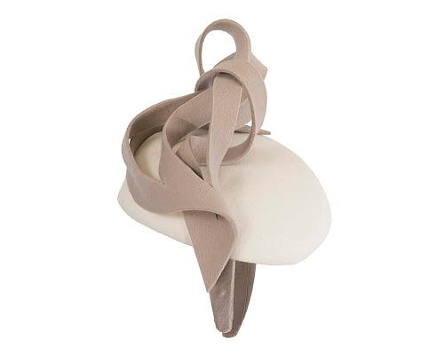 Fascinators Online - Unusual cream & sand felt pillbox fascinator by Fillies Collection 4