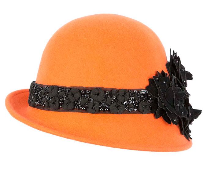 Fascinators Online - Orange ladies winter felt cloche hat by Fillies Collection 6