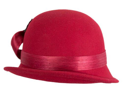 Fascinators Online - Red autumn & winter fashion felt cloche hat by Fillies Collection 6