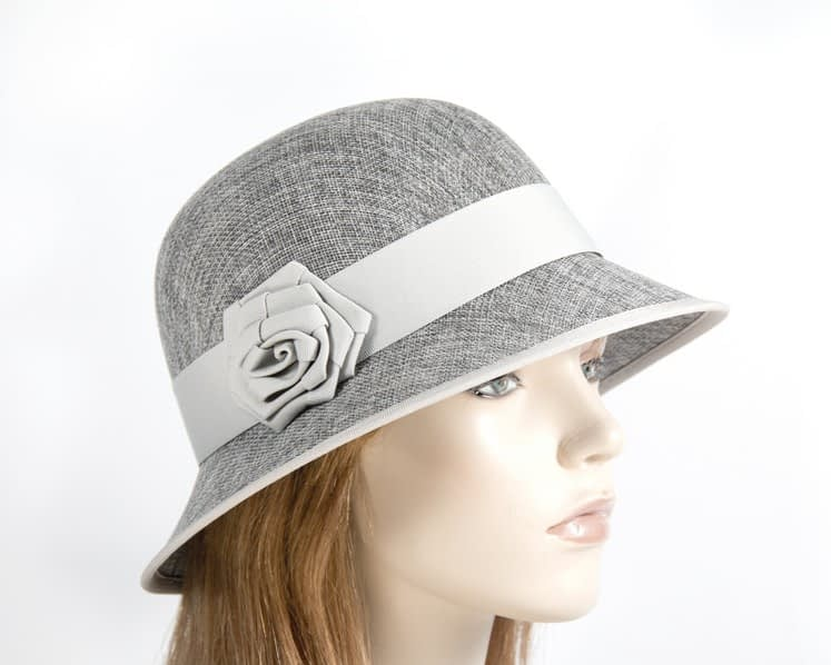 Silver cloche bucket racing hat
