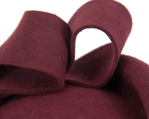 Fascinators Online - Large burgundy felt fascinator hat by Fillies Collection 5