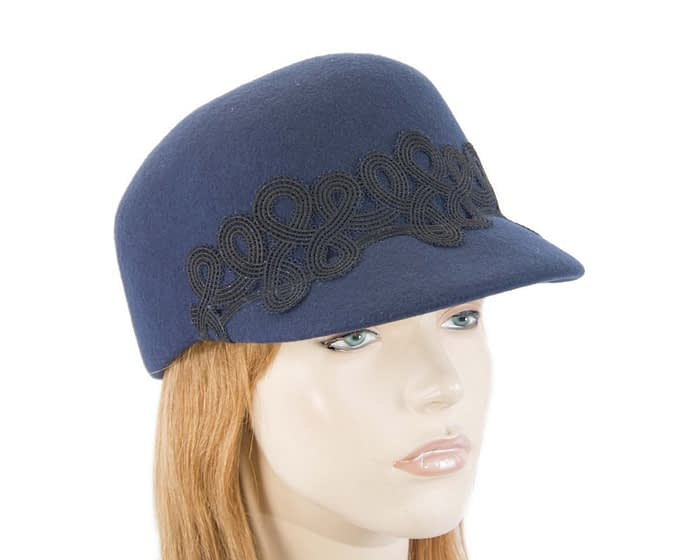 Fascinators Online - Navy felt ladies cap with lace 1