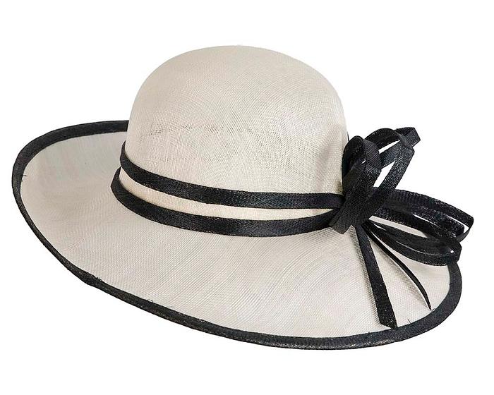 Fascinators Online - Cream & Black ladies sinamay racing hat by Max Alexander 6
