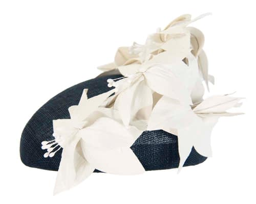 Fascinators Online - Navy & cream leather flower pillbox fascinator by Fillies Collection 3