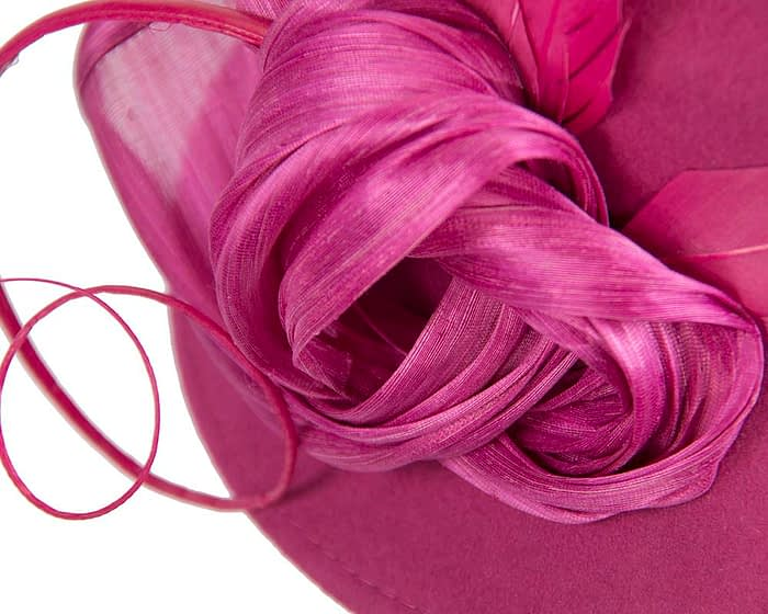 Fascinators Online - Exclusive fuchsia felt trilby hat by Fillies Collection 4