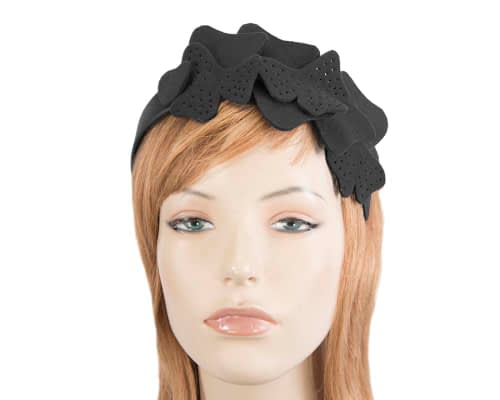 Fascinators Online - Petite black felt winter fascinator by Max Alexander 72