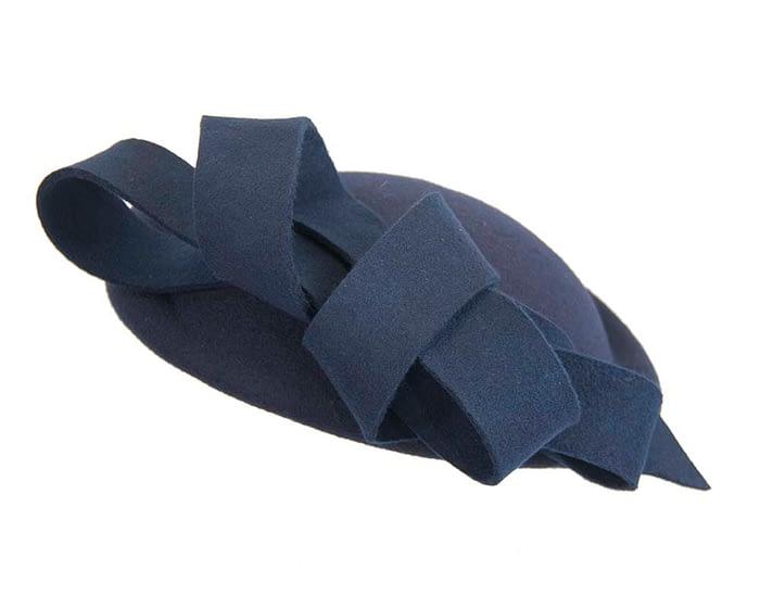 Fascinators Online - Large navy felt fascinator hat by Fillies Collection 3