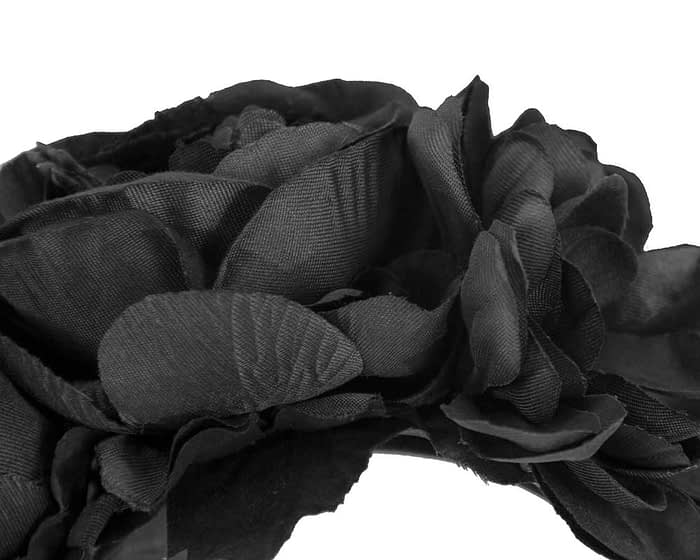 Fascinators Online - Black flower headband fascinator by Max Alexander 3
