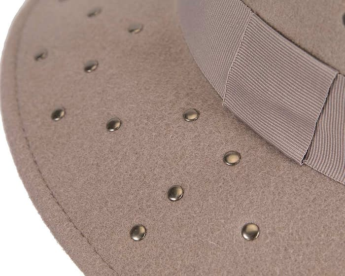Fascinators Online - Wide brim grey felt fedora hat by Max Alexander 4