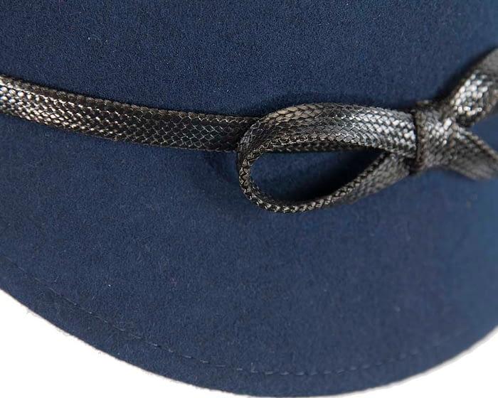 Fascinators Online - Navy felt cloche hat by Max Alexander 5