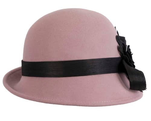 Fascinators Online - Exclusive dusty pink felt cloche hat with lace by Fillies Collection 6