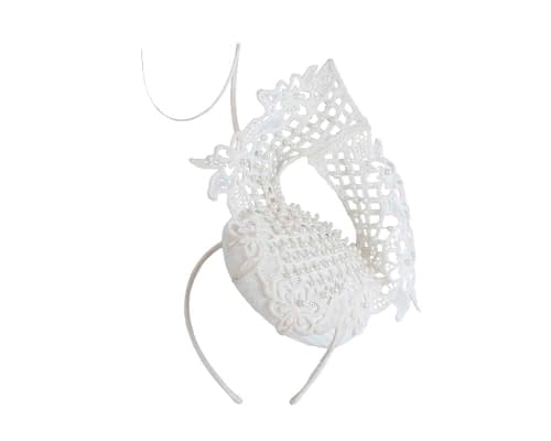 Fascinators Online - Ivory lace pillbox fascinator by Fillies Collection 2