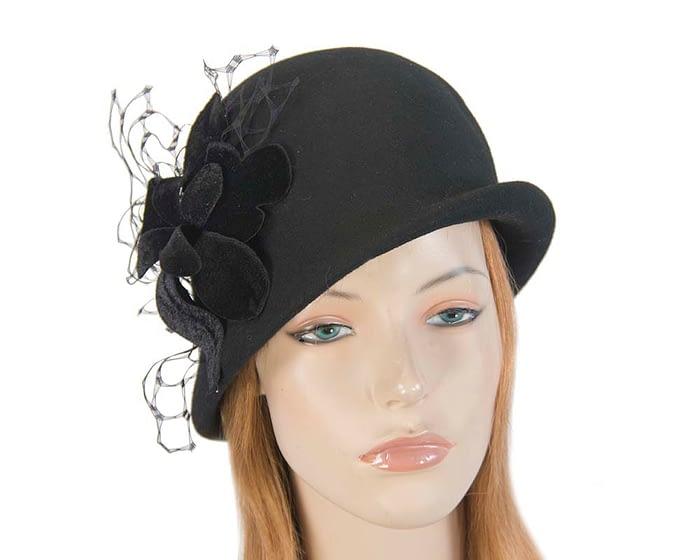 Fascinators Online - Black felt bucket hat from Fillies Collection 1