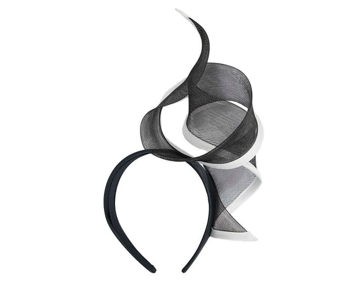 Fascinators Online - Twisted black & white racing fascinator by Fillies Collection 4